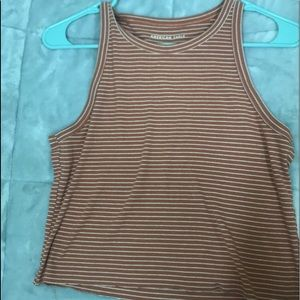 Coral pink tank top with white stripes